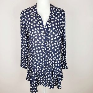 Anthro 11 1 TYLHO Lakin Blue Hearts Tunic Shirt